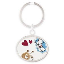 Milk and Cookies in love Oval Keychain