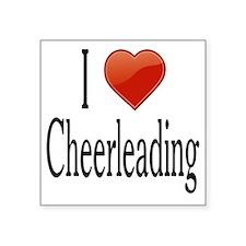 """I Love Cheerleading Square Sticker 3"""" x 3"""""""