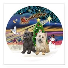 "XmasMagic-TWO Cairn Terr Square Car Magnet 3"" x 3"""