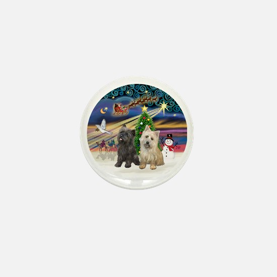 XmasMagic-TWO Cairn Terriers Mini Button