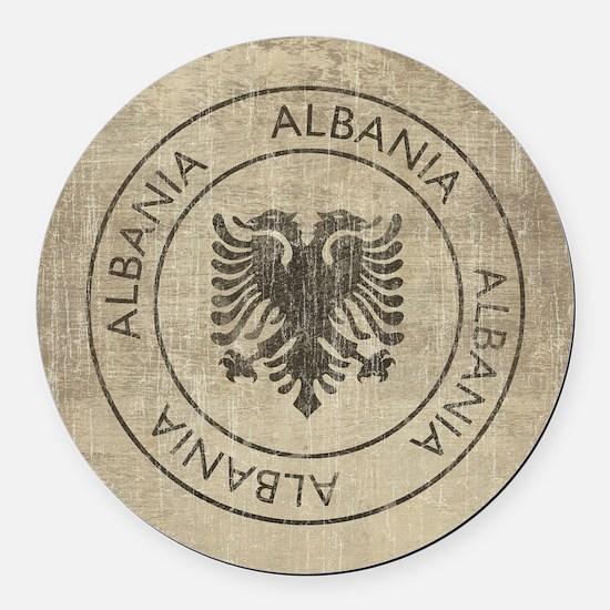 Vintage Albania Round Car Magnet