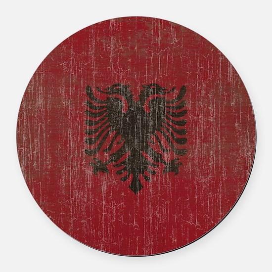 Vintage Albania Flag Round Car Magnet