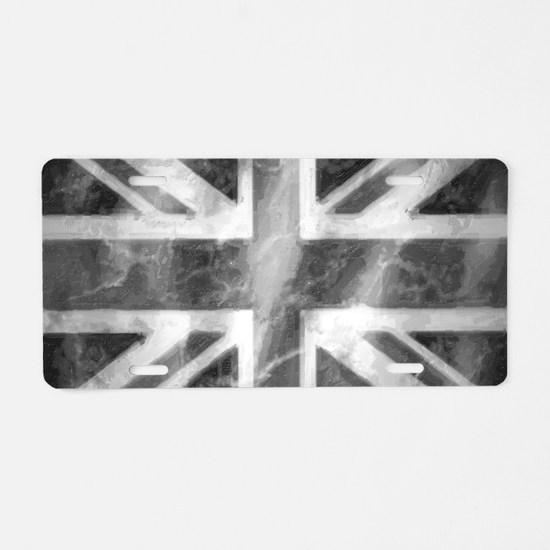 Union Jack Grey Aluminum License Plate