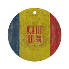 Vintage Andorra Flag Round Ornament