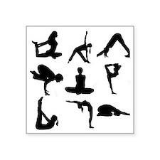 "Yoga Poses Square Sticker 3"" x 3"""