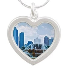 Fountain in Grant Park Chica Silver Heart Necklace
