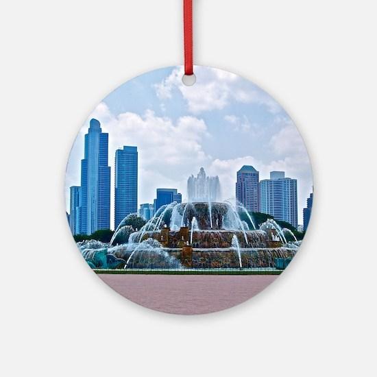 Fountain in Grant Park Chicago Round Ornament