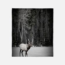 elk with birch tree Throw Blanket