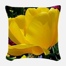 Yellow Tulip Woven Throw Pillow