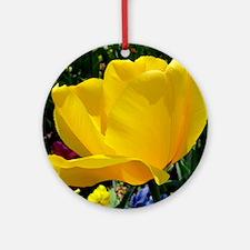 Yellow Tulip Round Ornament