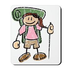 Happy Hiker Girl - Distressed Mousepad