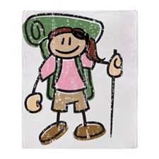 Happy Hiker Girl - Distressed Throw Blanket