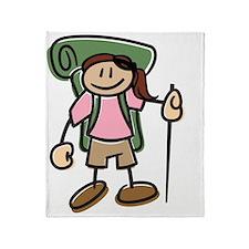 Happy Hiker Girl Throw Blanket