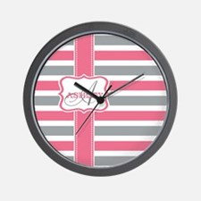 Pink and Grey Stripes Monogram Wall Clock