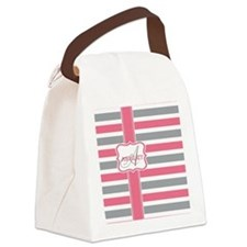 Pink and Grey Stripes Monogram Canvas Lunch Bag