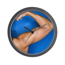 Bodybuilders flexed right arm Wall Clock