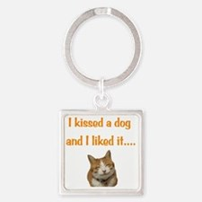 Cat Kiss Square Keychain