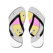 Porthole Triplets With White Text Flip Flops