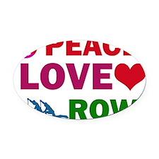 Peace Love Row Oval Car Magnet