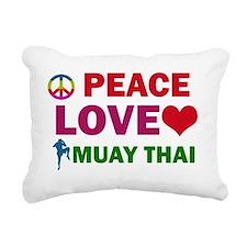 Peace Love Muay Thai Rectangular Canvas Pillow