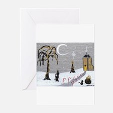 Holiday Witch Candy Cane Greeting Cards