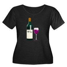 Wine Bottle And Wine Plus Size T-Shirt