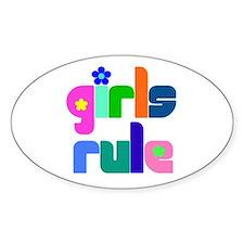 Girls rule Oval Decal