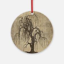 Vintage Willow Tree Round Ornament