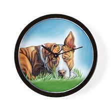 Pit Bull Hears You Wall Clock