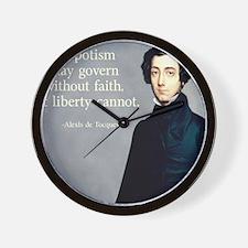 de Tocqueville Faith Quote Wall Clock