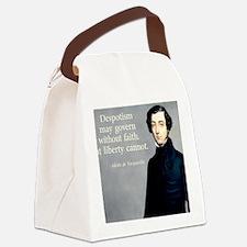 de Tocqueville Faith Quote Canvas Lunch Bag