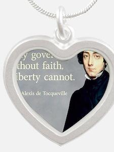 de Tocqueville Faith Quote Silver Heart Necklace