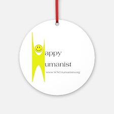 Yellow Happy Humanist Round Ornament