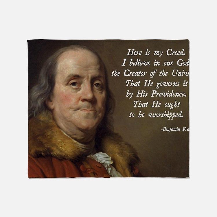 Benjamin Franklin Religion Throw Blanket