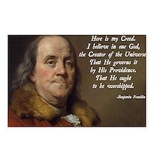 Benjamin Franklin Religio Postcards (Package of 8)