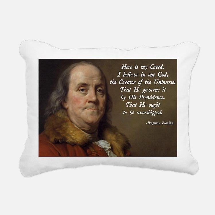 Benjamin Franklin Religi Rectangular Canvas Pillow