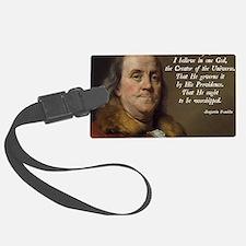 Benjamin Franklin Religion Luggage Tag