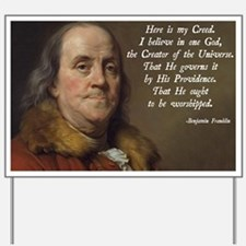 Benjamin Franklin Religion Yard Sign