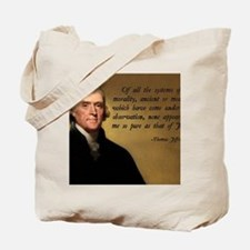 Thomas Jefferson Jesus Quote Tote Bag