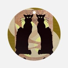 Twin Black Cat Abstract Ornament (Round)