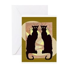 Twin Black Cat Abstract Greeting Cards