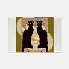 Twin Black Cat Abstract Magnets