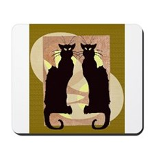 Twin Black Cat Abstract Mousepad