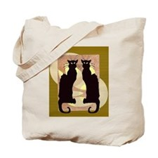 Twin Black Cat Abstract Tote Bag