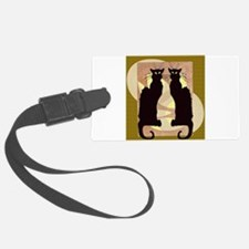 Twin Black Cat Abstract Luggage Tag