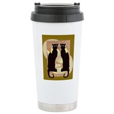 Twin Black Cat Abstract Travel Mug