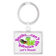 Reading Book Worm Landscape Keychain