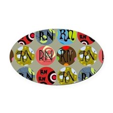 RN Colorful Circles Nurse Shoulder Oval Car Magnet