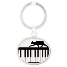 Cat and Piano v.1 Oval Keychain