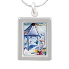 Gazebo At the Cove Silver Portrait Necklace